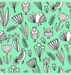 Pattern with tulips and birds vector