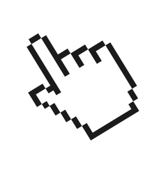 pixelated hand cursor icon image vector image
