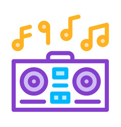 Playing record player and musical notes vector