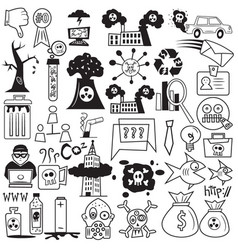 pollution and business cartoon doodle icons vector image