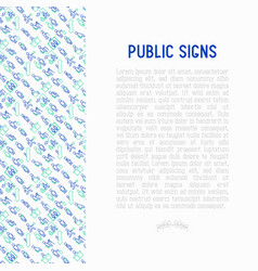 public signs concept thin line icons vector image