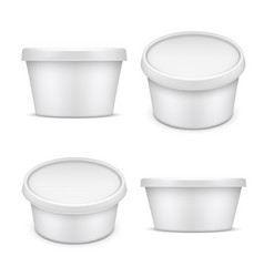 Rounded container white plastic packaging vector