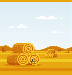 rural landscape with haystacks forks on fields vector image