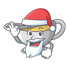 Santa cartoon sauce boat with cream sauce vector