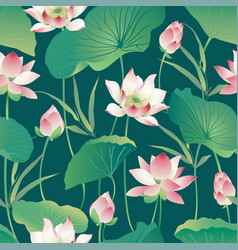 Seamless pattern lotus flowers and leaves vector