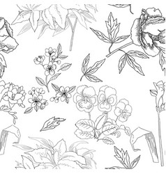 Seamless pattern with flowers sketches vector
