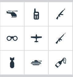 Set of 9 simple terror icons can be found vector