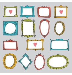 Set of hand drawn frames Cute design elements vector image