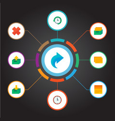 Set of project icons flat style symbols with log vector