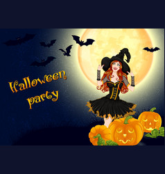 sexy witch and pumpkins on full moon background vector image