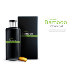Shampoo with bamboo charcoal packaging vector