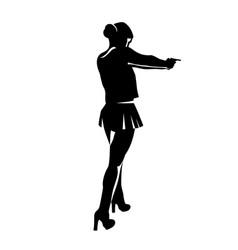 Shooting girl silhouette vector