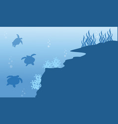 Silhouette of turtle and reef underwater landscape vector