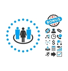 Society Flat Icon with Bonus vector image