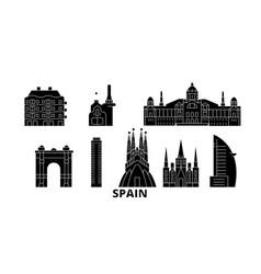 spain barcelona flat travel skyline set spain vector image