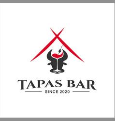 spanish bar tapas food logo design vector image