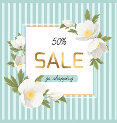spring sale discount anemone hellebore flowers vector image