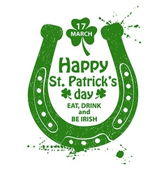 St Patricks Day Typography Poster With Horseshoe vector image