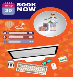 Summer infographic with book now text computer and vector image