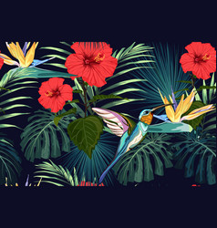 summer pattern background with humming bird vector image