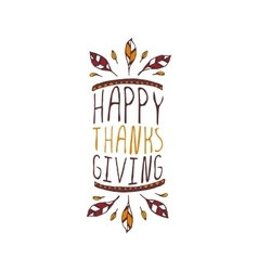 Thanksgiving label with text on white background vector