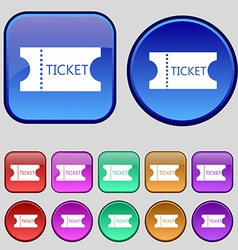 ticket icon sign A set of twelve vintage buttons vector image