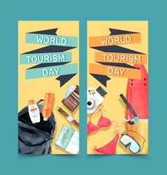 Tourism flyer design with backpack bikini wallet vector