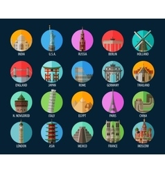 Travel Set of elements - America India USA vector image