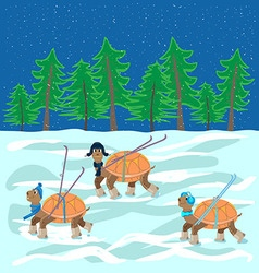 Turtles with hats boots skis are on the snow vector