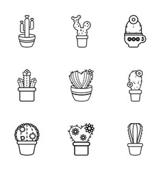 Type of cactus icons set outline style vector