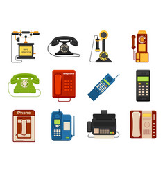 vintage phones retro lod telephone call vector image