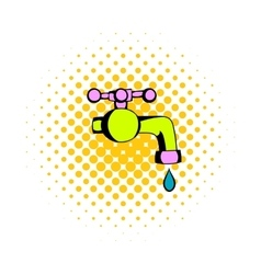Water faucet comics icon vector