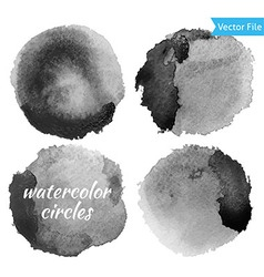 Watercolor Dark Grey Circles Set vector image