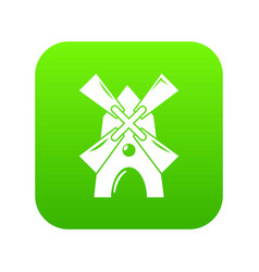 windmill icon green vector image