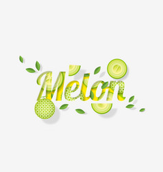 word melon design in paper art style vector image
