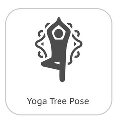 yoga fitness tree pose icon flat design isolated vector image