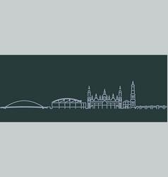 zaragoza single line skyline profile vector image