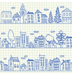 Houses doodles on school squared paper vector image vector image