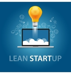 lean start-up product launch bulb idea technology vector image