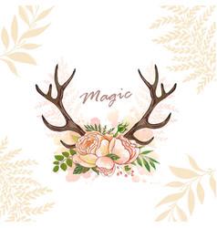 Magic horn deer vector