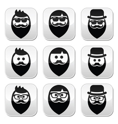 Man with beard with moustache or mustache hipster vector image vector image