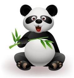 Panda eating bamboo leaf vector image vector image