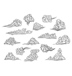 Retro scrolling black and white clouds vector image