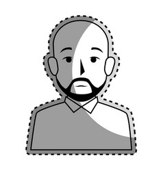 sticker silhouette half body bald man with beard vector image vector image