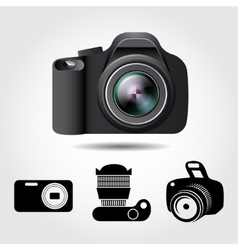 Camera and some icons on a white background vector image