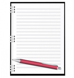 notebook with red pen vector image vector image
