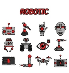 Robotic flat icon set vector image