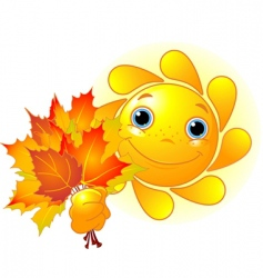 sun with autumn leaves vector image