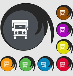 Truck icon sign Symbols on eight colored buttons vector image