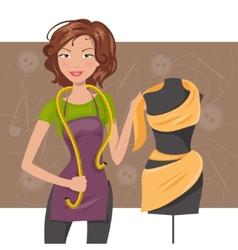 Woman seamstress near the manikin dressmaker vector